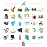 Sportar, medicin, havet och annan rengöringsduksymbol i tecknad film utformar djur rekreation, textilsymboler i uppsättningsamlin stock illustrationer