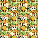 Sportar mönstrar med fotboll-/fotbollsymboler färgrik bakgrund Arkivfoto