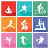 Sportar och kondition stock illustrationer