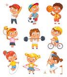 Sportar och kondition roligt tecknad filmtecken Arkivfoton