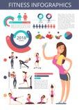 Sportar och sund livvektoraffär som är infographic med tecken, diagram och diagram för sportperson royaltyfri illustrationer