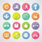 Sportar och sund symbolsuppsättning Royaltyfri Foto