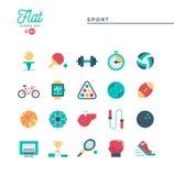 Sportar rekreation, utarbetar, utrustning, och mer, plana symboler ställer in stock illustrationer