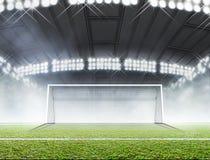 Sportar stadion och fotbollmål fotografering för bildbyråer