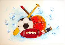 Sportar utrustar på en väggtegelplatta Royaltyfri Fotografi