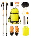 Sportausrüstung und -gang für das Wandern und Trekking lizenzfreie stockfotografie
