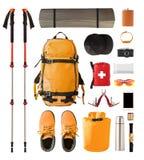 Sportausrüstung und -gang für das Wandern und Trekking stockfotos