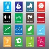 Sportausrüstungs-Farbikone gesetztes eps10 Stockfotos