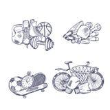 Sportausrüstungsstapel des Vektors Hand gezeichnete eingestellt stock abbildung