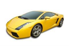 Sportauto im Gelb, getrennt Lizenzfreies Stockfoto