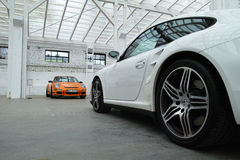 Sportautos. Porsche 911 GT3 RS, 911 Turbo Stockbild