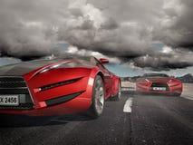 Sportautos, welche die Straße weitergehen lizenzfreie abbildung