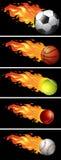 Sportbälle auf Feuer Stockbild