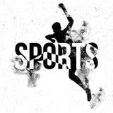 Sportbakgrund med banhoppningmanidrottsman nen Arkivfoton