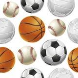 Sportballen Geplaatst Naadloos patroon. Stock Afbeeldingen