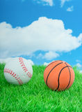 Sportballs em um gramado Fotografia de Stock Royalty Free