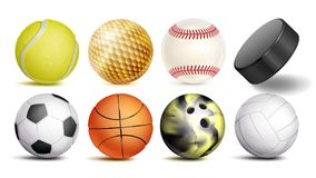 Sportballvektor Satz Fußball, Basketball, Bowlingspiel, Tennis, Golf, Volleyball, Baseball-Bälle Hockey-Puck Getrennt Lizenzfreies Stockbild