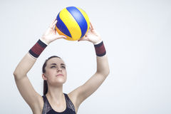 Sportbegrepp och idéer Yrkesmässig kvinnlig volleybollidrottsman nen Royaltyfria Bilder