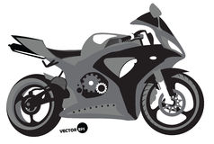 Sportbike kontur, transport för hastighet och ytterlighetsportar, motocross Motorcykel sats för sportkropp, monokrom vektor Royaltyfri Bild
