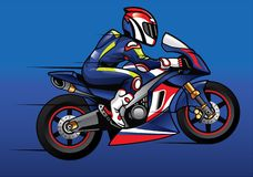 Sportbike racer. Vector of sportbike racer riding fast Royalty Free Stock Images