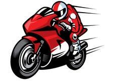 Sportbike-Rennläufer, der schnell reitet stockbilder