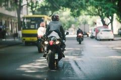 Sportbike. Ride on the street Royalty Free Stock Photos