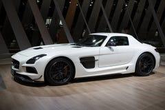 Sportbil 2013 för serie C197 för Mercedes Benz SLS AMG kupésvart arkivfoton