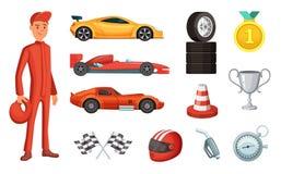 Sportbilar och olik tävlings- symbolsuppsättning Motor, hjälm, motor och andra formelsymboler vektor illustrationer