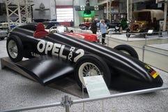Sportbilar Opel RAK2 i Technik-museet Speyer Arkivfoton