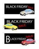 Sportbilar på tre Black Friday Sale baner stock illustrationer