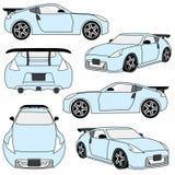 Sportbilen beskådar och metar royaltyfri illustrationer