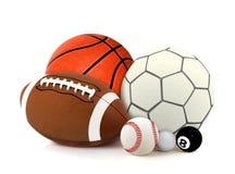 Sportbollar över vit Royaltyfri Fotografi