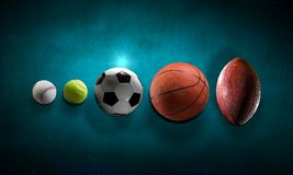 Sportbollar i linje Royaltyfri Fotografi