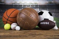 Sportbollar med utrustning Royaltyfri Fotografi