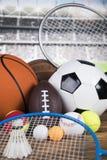 Sportbollar med utrustning Royaltyfri Foto