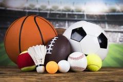 Sportbollar med utrustning Royaltyfria Bilder