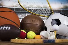 Sportbollar med utrustning Royaltyfri Bild