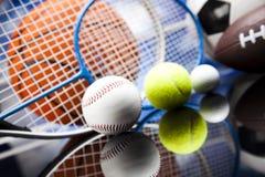 Sportbollar med utrustning Arkivbild