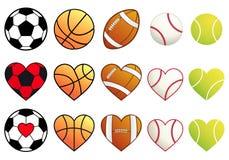 Sportbollar och hjärtor, vektoruppsättning Royaltyfria Bilder