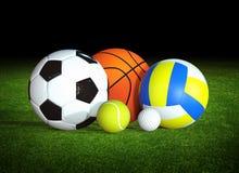 Sportbollar på gräs royaltyfri illustrationer