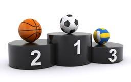 Sportbollar på vinnare podium Royaltyfria Foton