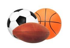 Sportbollar som isoleras på vit Royaltyfri Fotografi