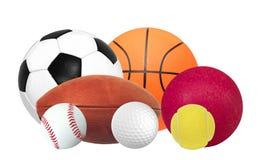 Sportbollar som isoleras på vit Fotografering för Bildbyråer