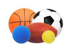 Sportbollar som isoleras på vit Arkivfoto