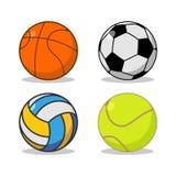 Sportbolluppsättning Basket och fotboll Tennis och volleyboll Royaltyfri Foto