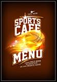 Sportcafé-Menüdesign mit brennendem Basketballball Stockfotos