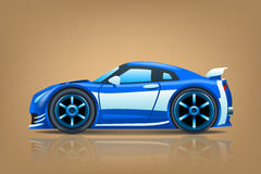 Sportcar blue. Illustration of blue sportcar view from side on brown background Stock Image