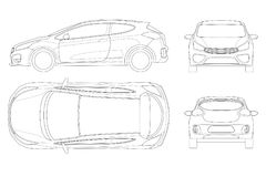Sportcar or hatchback vehicle. SUV car set on outline, template   Royalty Free Stock Photography