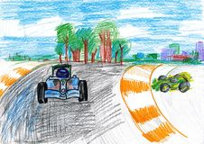 Sportcar racing. child drawing Stock Photos