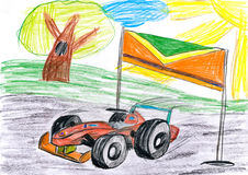 Sportcar racing. childs drawing. Sportcar racing childs drawing sketch Stock Images